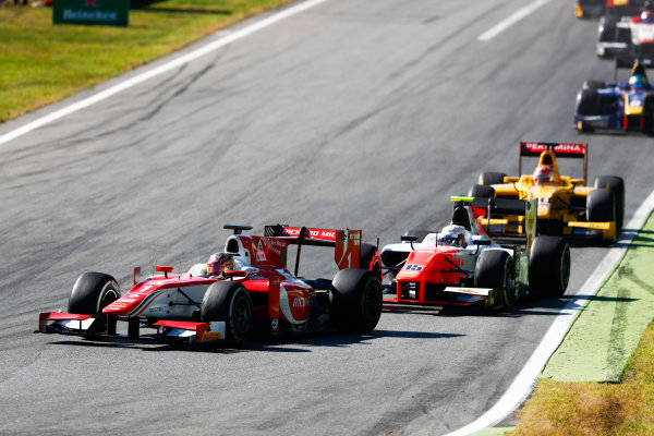 Autodromo Nazionale di Monza, Italy. Sunday 3 September 2017 Charles Leclerc (MCO, PREMA Racing). leads Jordan King (GBR, MP Motorsport).  Photo: Bloxham/FIA Formula 2 ref: Digital Image _W6I4722