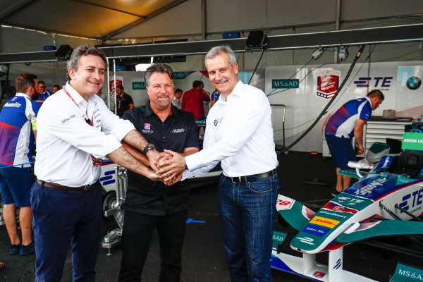 2016/2017 FIA Formula E Championship. Round 9 - New York City ePrix, Brooklyn, New York, USA. Saturday 15 July 2017. Alejandro Agag, Michael Andretti and Jens Marquardt, BMW Motorsport Director pose for a picture. Photo: Sam Bloxham/LAT/Formula E ref: Digital Image _W6I2041