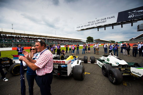 Williams 40 Event Silverstone, Northants, UK Friday 2 June 2017. Claire Williams and Nigel Mansell on the grid. World Copyright: Sam Bloxham/LAT Images ref: Digital Image _W6I6520