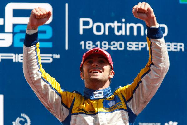 Sunday Race.Luca Filippi (ITA, Super Nova Racing) celebrates his victory on the podium. World Copyright: Glenn Dunbar / GP2 Series Media Service.Ref: _3GD3224 jpg