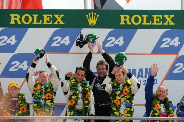 Circuit de La Sarthe, Le Mans, France. 6th - 13th June 2010.Nick Leventis / Danny Watts / Jonny Kane, Strakka racing, No 42 HPD ARX-01c, LMP2 winners, on the podium. Portrait. Podium. World Copyright: Jeff Bloxham/LAT PhotographicDigital Image DSC_1732 JPG