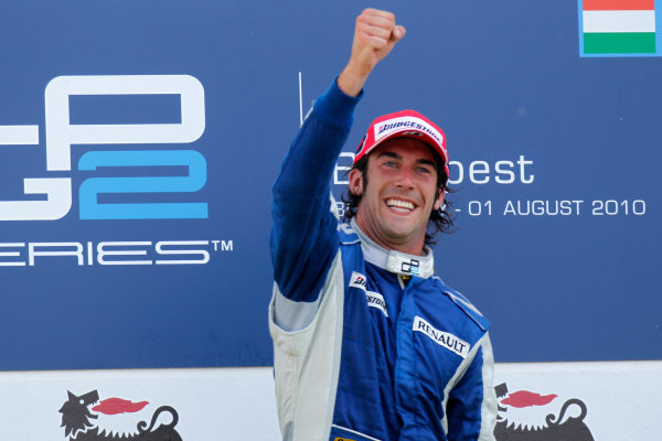 Hungaroring, Budapest, Hungary. 1st August.Sunday Race.Giacomo Ricci (ITA, DPR) celebrates his victory on the podium. Portrait.Photo: Glenn Dunbar/GP2 Media Service.Ref: __G7C5706 jpg