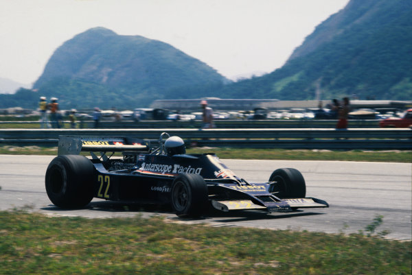 Jacarepagua, Rio de Janeiro, Brazil. 27-29 January 1978.Danny Ongais (Ensign N177-Ford), retired, action. World Copyright: LAT Photographic.Ref:  78BRA24.