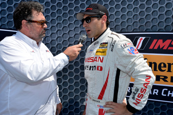 21-22 August 2015, Alton, Virginia USA 14, GS, Brad Jaeger speaks with IMSA radio's John Hindhaugh  ?2014, Scott R LePage  LAT Photo USA