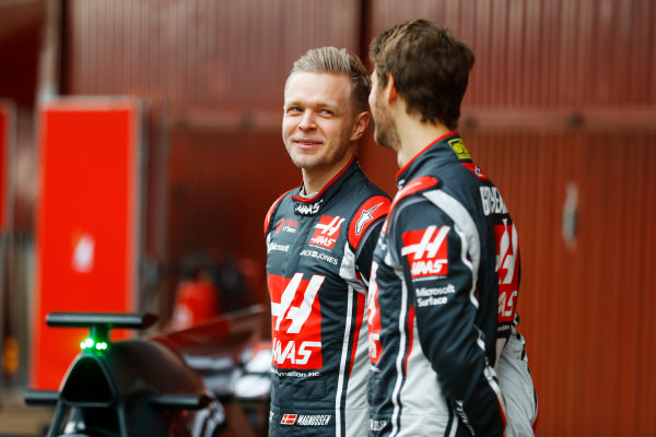 HAAS F1 Car Formula 1 Launch. Barcelona, Spain  Monday 27 February 2017. Romain Grosjean, Haas F1. and Kevin Magnussen, Haas F1 World Copyright: Dunbar/LAT Images Ref: _O3I5169