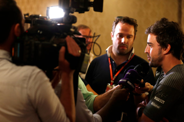 Bahrain International Circuit, Sakhir, Bahrain.  Wednesday 12 April 2017. Fernando Alonso talks to the media after announcing his deal to race in the 2017 Indianapolis 500 in an Andretti Autosport run McLaren Honda car. World Copyright: Glenn Dunbar/LAT Images ref: Digital Image _31I6960