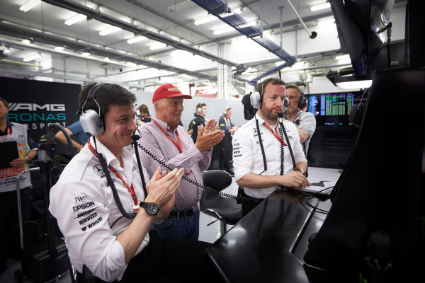 Shanghai International Circuit, Shanghai, China.  Saturday 15 April 2017. Toto Wolff, Executive Director (Business), Mercedes AMG, and Niki Lauda, Non-Executive Chairman, Mercedes AMG, applaud the efforts of their drivers in Qualifying. World Copyright: Steve Etherington/LAT Images ref: Digital Image SNE21775