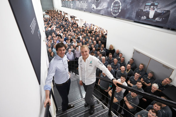 Mercedes F1 Driver Announcement Mercedes AMG Factory, Brackley, UK Monday 16 January 2017 Valtteri Bottas is announced as the new Mercedes AMG F1 driver for 2017. World Copyright: Steve Etherington/LAT Photographic ref: Digital Image EW4P3066