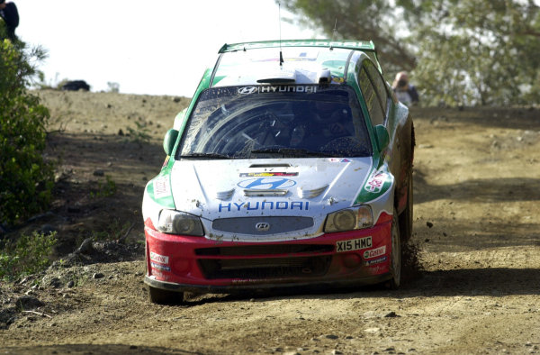 World Rally Championship, Cyprus Rally, April 18-21, 2002.Armin Schwarz lands from a jump in Stage 8, Leg 2.Photo: Ralph Hardwick/LAT