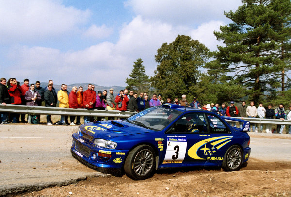 Richard Burns cuts a corner in his Subaru Impreza WRC2000 at the Pre event shakedown for the Catalunya Rally 2000.