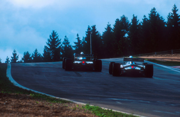 1994 Belgian Grand Prix.Spa-Francorchamps, Belgian.26-28 August 1994.Damon Hill (Williams FW16B Renault) follows Andrea de Cesaris (Sauber C13 Mercedes)Ref-94 BEL 16.World Copyright - LAT Photographic