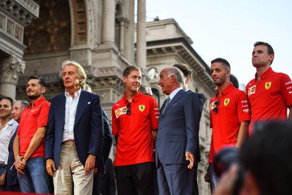 Giancarlo Fisichella, Luca di Montezemolo, and Sebastian Vettel, Ferrari