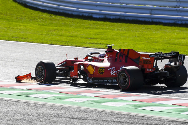 Charles Leclerc, Ferrari SF90 with front wing damage