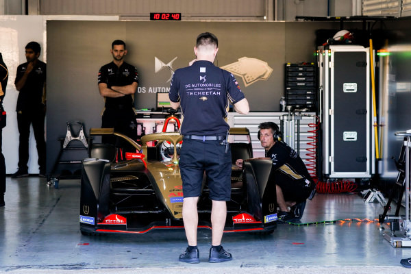 Jean-Eric Vergne (FRA), DS Techeetah, DS E-Tense FE20 sits in the garage