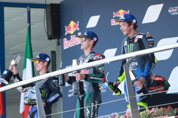 Podium: race winner Fabio Quartararo, Petronas Yamaha SRT, second place Maverick Vinales, Yamaha Factory Racing, third place Valentino Rossi, Yamaha Factory Racing.