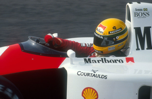 1991 Portuguese Grand Prix.Estoril, Portugal.20-22 September 1991.Ayrton Senna (McLaren MP4/6 Honda) 2nd position.Ref-91 POR 02.World Copyright - LAT Photographic