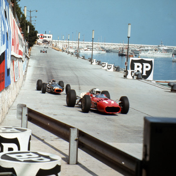 Monte Carlo, Monaco. 19-22 May 1966.John Surtees (Ferrari 312) leads Jackie Stewart and Graham Hill(both BRM P261). Stewart and Hill finished in 1st and 3rd positions respectively.Ref-3/2102.World Copyright - LAT Photographic
