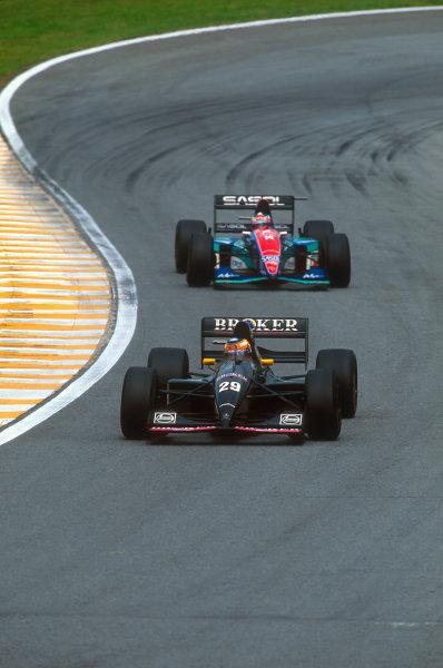 Interlagos, Sao Paulo, Brazil.25-27 March 1994.Karl Wendlinger (Sauber C13 Mercedes) 6th position, followed by Rubens Barrichello (Jordan 194 Hart).Ref-94 BRA 27.World Copyright - LAT Photographic