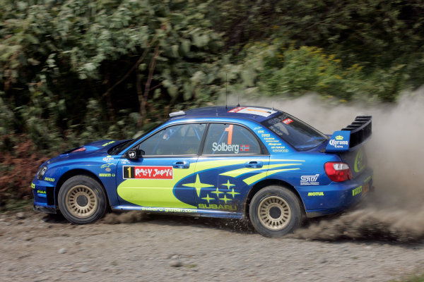 2004 FIA World Rally Champs. Round eleven, Rally Japan.2nd-5th September 2004.Petter Solberg, Subaru, action.World Copyright: McKlein/LAT