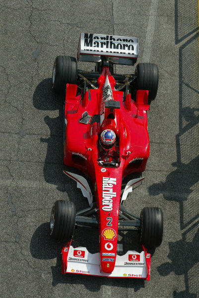2003 San Marino Grand Prix - Friday 1st QualifyingImola, Italy. 18th April 2003Rubens Barrichello, Ferrari F2002, action.World Copyright: Steve Etherington/LAT Photographic ref: Digital Image Only