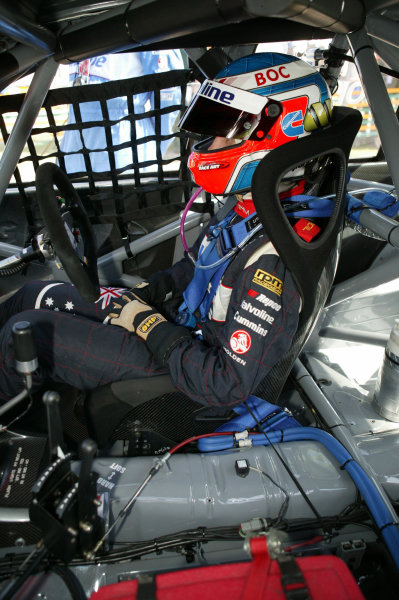 2005 Australian V8 SupercarsAlbert Park, Melbourne, Australia. 4th - 6th March.Andrew Jones (Commodore VY) sits in his car before the start of the race.World Copyright: Mark Horsburgh/LAT Photographicref: Digital Image Only
