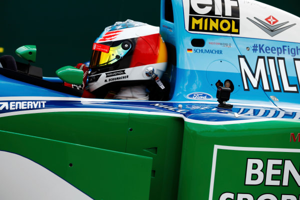 Spa Francorchamps, Belgium.  Sunday 27 August 2017. Mick Schumacher drives a Benetton B194 originally driven by his father Michael Schumacher in the 1994 World Championships. World Copyright: Glenn Dunbar/LAT Images  ref: Digital Image _31I6687