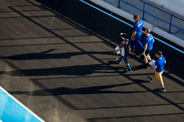 2017 FIA Formula 2 Round 10. Circuito de Jerez, Jerez, Spain. Thursday 5 October 2017. Ryan Tveter (USA, Trident), Dorian Boccolacci (FRA, Trident), Santino Ferrucci (USA, Trident).  Photo: Zak Mauger/FIA Formula 2. ref: Digital Image _X0W9314