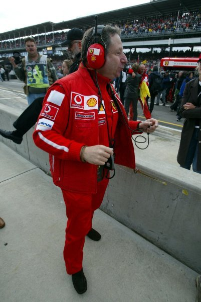 Jean Todt (FRA) Ferrari General Manager.Formula One World Championship, Rd15, United States Grand Prix, Race Day, Indianapolis, USA, 28 September 2003.DIGITAL IMAGE