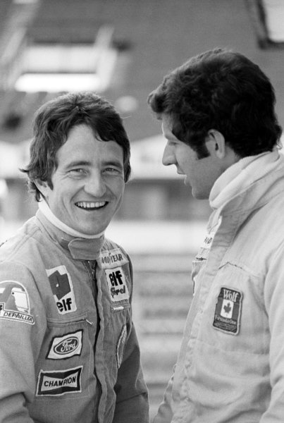 Patrick Depailler (FRA) Tyrrell-Cosworth and Jody Scheckter (RSA) Wolf Racing. Spanish Grand Prix, Rd 5, Jarama, Spain, 8 May 1977.