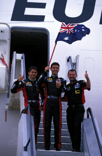 (L-R) Alex Yoong (MAL) Minardi, Mark Webber (AUS) Minardi and Paul Stoddart (AUS) Minardi Team Principal arrive in Australia.