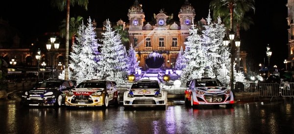 (L to R): The cars of Mikko Hirvonen (FIN) / Jarmo Lehtinen (FIN), Ford Fiesta RS WRC; Kris Meeke (GBR) / Paul Nagle (IRE), Citroen DS3 WRC; Sebastien Ogier (FRA) / Julien Ingrassia (FRA), Volkswagen Polo R WRC; and Thierry Neuville (BEL) / Nicolas Gilsoul (BEL) Hyundai i20 WRC, in Casino Square. FIA World Rally Championship, Rd1, Rally Monte Carlo, Preparatons, Monte Carlo, 13-15 January 2014.