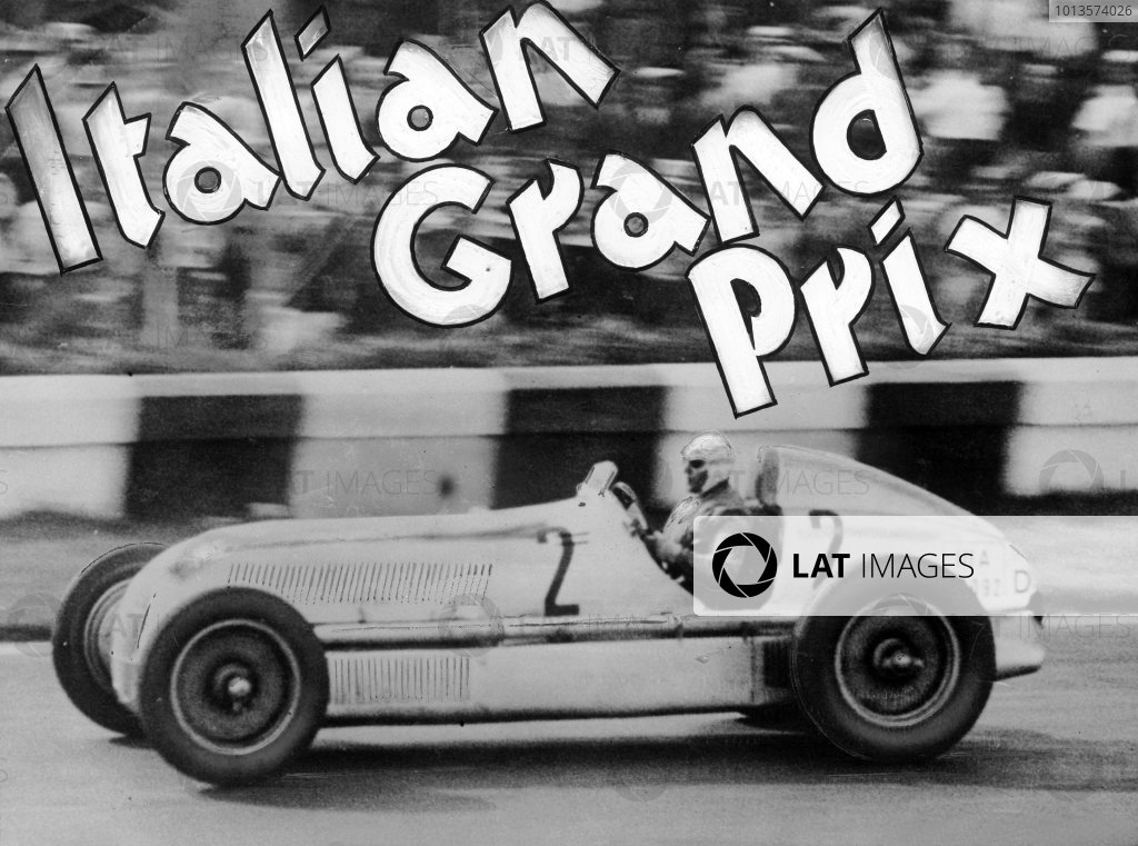 Monza, Italy. 9th September 1934.Rudolf Caracciola/Luigi Fagioli (Mercedes-Benz W25), 1st position, Fagioli took over from an exhausted Caracciola and went on to win the race, action. World Copyright: LAT Photographic.Ref:  34ITA01