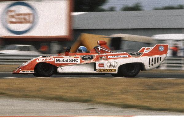 Le Mans, France. 15-16 June 1974.Yasuhiro Okamoto/Harukuni Takahashi/Yojiro Terada (Sigma MC74-Mazda), Not classified, action. World Copyright: LAT Photographic.Ref:  74LM