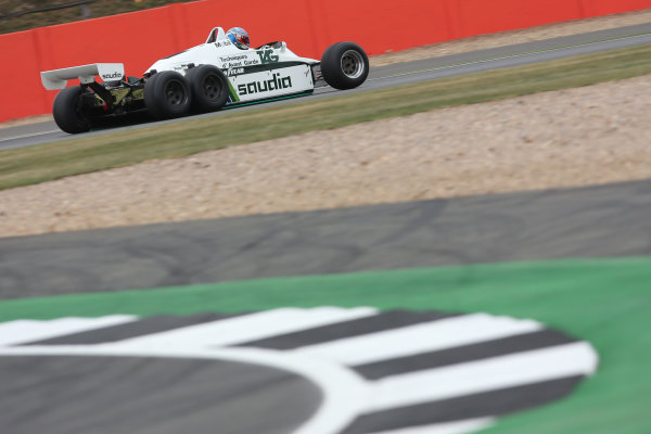 Silverstone, Northamptonshire, UK.  Saturday 15 July 2017. Paul di Resta drives a 1982 Williams FW08B Cosworth 6 wheeled F1 car in a parade as part of the Williams 40th Anniversary celebrations. World Copyright: Dom Romney/LAT Images  ref: Digital Image 11DXA7126