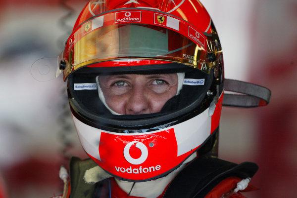2004 United States Grand Prix - Friday Practice,Indianapolis, USA. 18th June 2004 Michael Schumacher, Ferrari F2004, stares out of his crash helmet, portrait.World Copyright: Steve Etherington/LAT Photographic ref: Digital Image Only