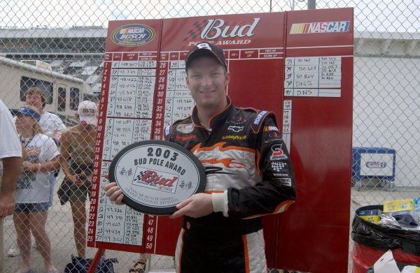2003 NASCAR, Pepsi 400, Daytona Fla. July03-04,2003Dale Earnhardt jr. poses with his BGN winning pole plaque,-Robert LeSieur 2003LAT Photographic