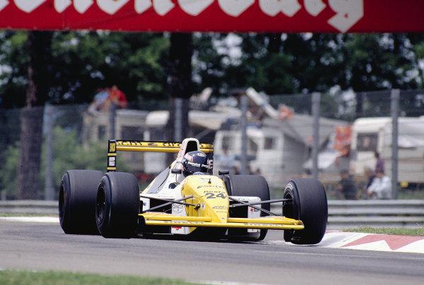 1990 San Marino Grand Prix.Imola, Italy.11-13 May 1990.Paolo Barilla (Minardi M190 Ford) 11th position.Ref-90 SM 30.World Copyright - LAT Photographic