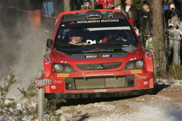 2005 FIA World Rally Championship Round 2, Swedish Rally. 10th - 13th February 2005. Harri Rovanpera, (Mitsubishi Lancer WRC), 4th position, action. World Copyright: McKlein/LAT Photographic. ref: Digital Image Only.