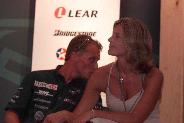 Johnny Herbert (Jaguar) with wife Rebecca.World Copyright - LAT Photographicref: digital image