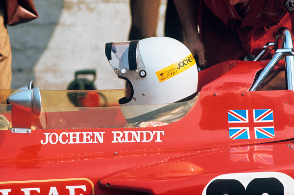 Monza, Italy. 4th - 6th September 1970. Jochen Rindt (Lotus 72C-Ford), during practice before his fatal accident, portrait. World Copyright: LAT Photographic Ref: 70 ITA 24.