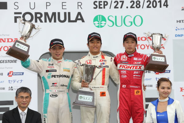 2014 All-Japan F3 Championship. Sugo, Japan. 27th - 28th September 2014. Rd 6. Race 1 - Winner Nobuharu Matsushita ( #7 HFDP RACING ) 2nd position Takamoto Katsuata ( #1 PETRONAS TEAM TOM'S ) 3rd position Shota Kiyohara ( #2 TODA RACING ) podium, portrait World Copyright: Yasushi Ishihara / LAT Photographic. Ref:  2014JF3_Rd12&13_003.JPG