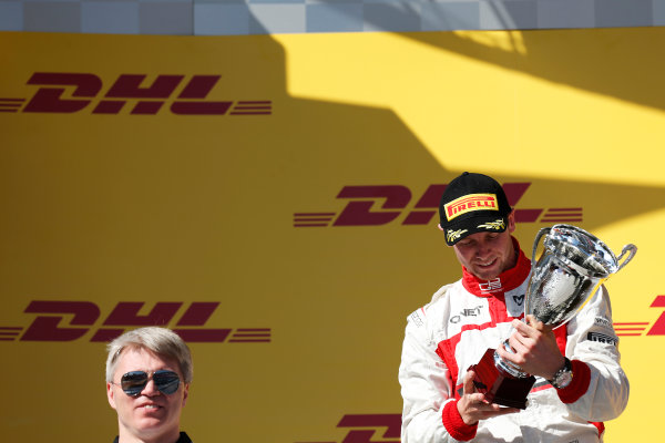 2014 GP3 Series. Round 8.   Sochi Autodrom, Sochi, Russia. Sunday Race 2 Sunday 12 October 2014. Dean Stoneman (GBR, Marussia Manor Racing) on the podium. Photo: Alastair Staley/GP3 Series Media Service. ref: Digital Image _79P5805