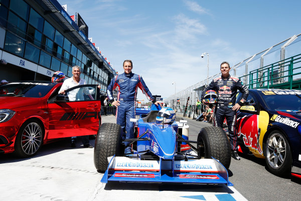 Albert Park, Melbourne, Australia. Wednesday 11 March 2015. Mick Doohan, Cameron McConville, and Craig Lowndes, pose at the end of the pitlane. World Copyright: Charles Coates/LAT Photographic. ref: Digital Image _J5R8879