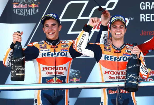2017 MotoGP Championship - Round 4 Jerez, Spain Sunday 7 May 2017 Podium: Race winner Dani Pedrosa, Repsol Honda Team, second place Marc Marquez, Repsol Honda Team World Copyright: Gold & Goose Photography/LAT Images ref: Digital Image 668749