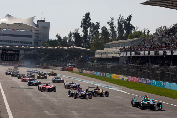 2016/2017 FIA Formula E Championship. Aut?dromo Hermanos Rodr?guez, Mexico City, Mexico Saturday 1 April 2017. The start Photo: Alastair Staley/LAT/Formula E ref: Digital Image 585A6925