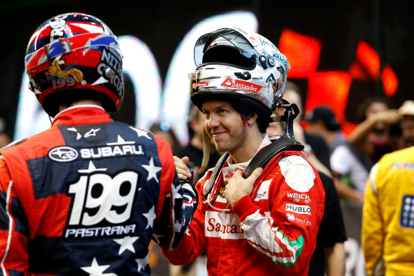 2017 Race of Champions Miami, Florida, USA Sunday 22 January 2017 Travis Pastrana with Sebastian Vettel World Copyright: Alexander Trienitz/LAT Photographic ref: Digital Image 2017-RoC-MIA-AT2-2959