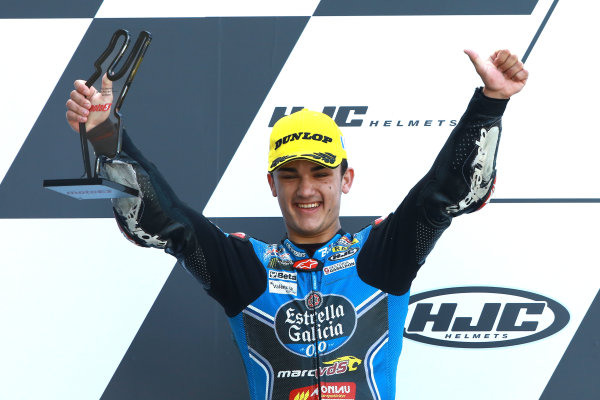 2017 Moto3 Championship - Round 5 Le Mans, France Sunday 21 May 2017 Podium: second place Aron Canet, Estrella Galicia 0,0 World Copyright: Gold & Goose Photography/LAT Images ref: Digital Image 671646