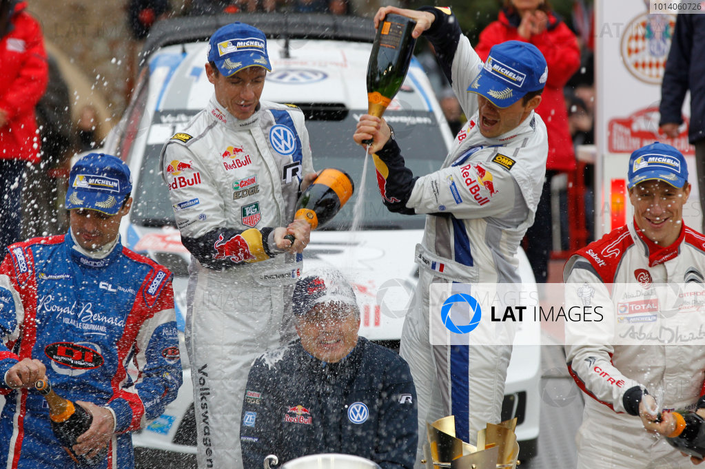 2014 World Rally Championship Monte Carlo Rally 13th - 19th January 2014 Sebastien Ogier, Jost CApito, VW, podium Worldwide Copyright: McKlein/LAT