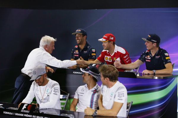 Interlagos, Sao Paulo, Brazil. Thursday 10 November 2016. The Thursday press conference. Back row, L-R: Daniel Ricciardo, Red Bull Racing, Sebastian Vettel, Ferrari and Max Verstappen, Red Bull. Front row, L-R: Charlie Whiting, Race Director, FIA, Lewis Hamilton, Mercedes AMG, Felipe Massa, Williams Martini Racing and Nico Rosberg, Mercedes AMG. World Copyright: Charles Coates/LAT Photographic ref: Digital Image AN7T6700