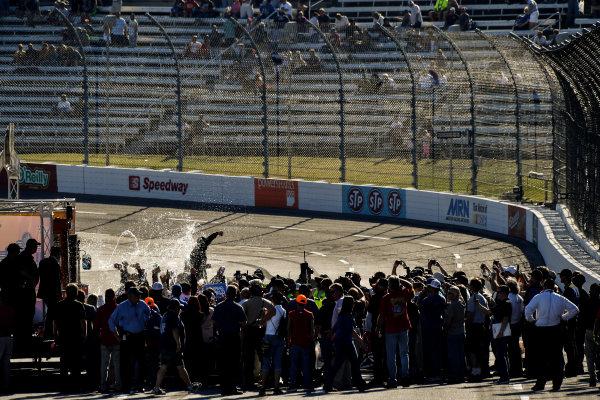 28-29 October, 2016, Martinsville, Virginia USA Johnny Sauter celebrates the win in victory lane ?2016, Scott R LePage  LAT Photo USA